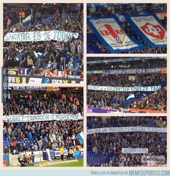 782059 - Lamentables las pancartas de aficionados del Espanyol en su estadio
