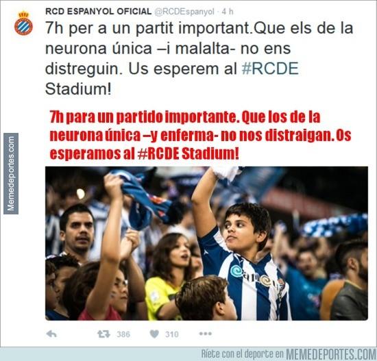 814763 - El Espanyol la lía en Twitter con este tuit contra los aficionados del Barça