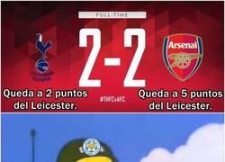 Enlace a El Leicester al ver el resultado del Tottenham - Arsenal