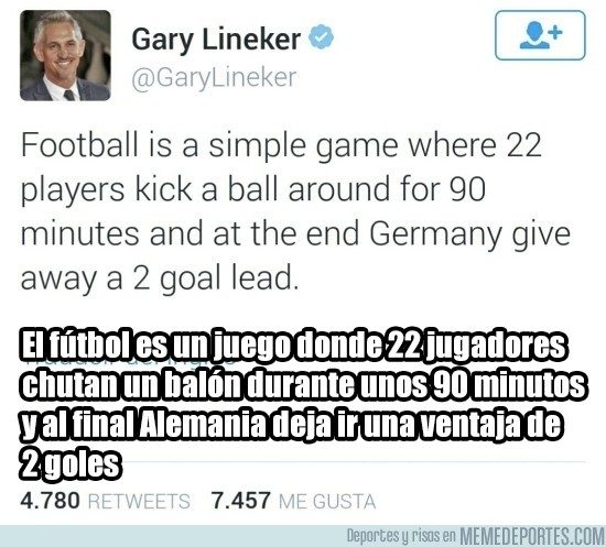 827221 - Gary Lineker rehizo su famosa frase después de la victoria de Inglaterra