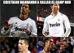 Enlace a Cristiano mandando a callar al Camp Nou