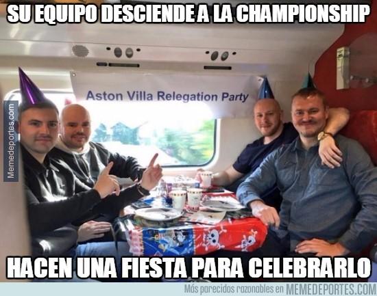 840426 - Hay quienes se han tomado muy bien el descenso del #AstonVilla, e incluso han hecho una fiesta
