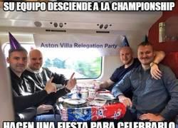 Enlace a Hay quienes se han tomado muy bien el descenso del #AstonVilla, e incluso han hecho una fiesta