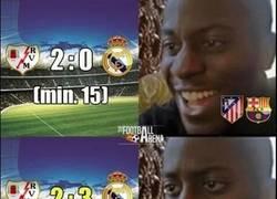 Enlace a Culés y colchoneros durante y después del partido del Madrid