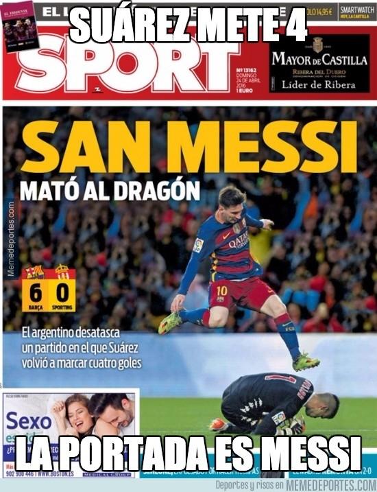 844657 - Suárez mete 4 y la portada es para Messi