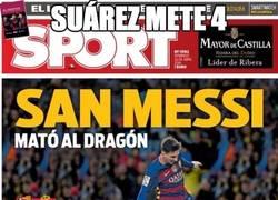 Enlace a Suárez mete 4 y la portada es para Messi