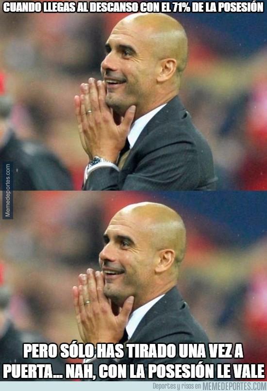 846690 - Guardiola es feliz en su mundo de la posesión...