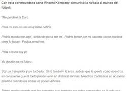 Enlace a La emotiva carta de Vicent Kompany tras enterarse que no estará en la Euro