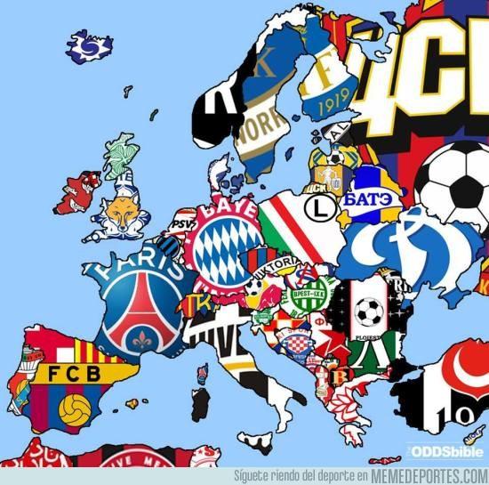 857941 - Un mapa de con los campeones de liga en Europa
