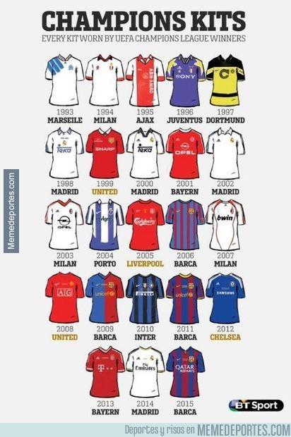 862685 - Las camisetas de todos los ganadores de la Champions