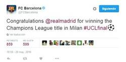 Enlace a Enorme el Barça siempre felicitando al Real Madrid. #DEPORTIVIDAD