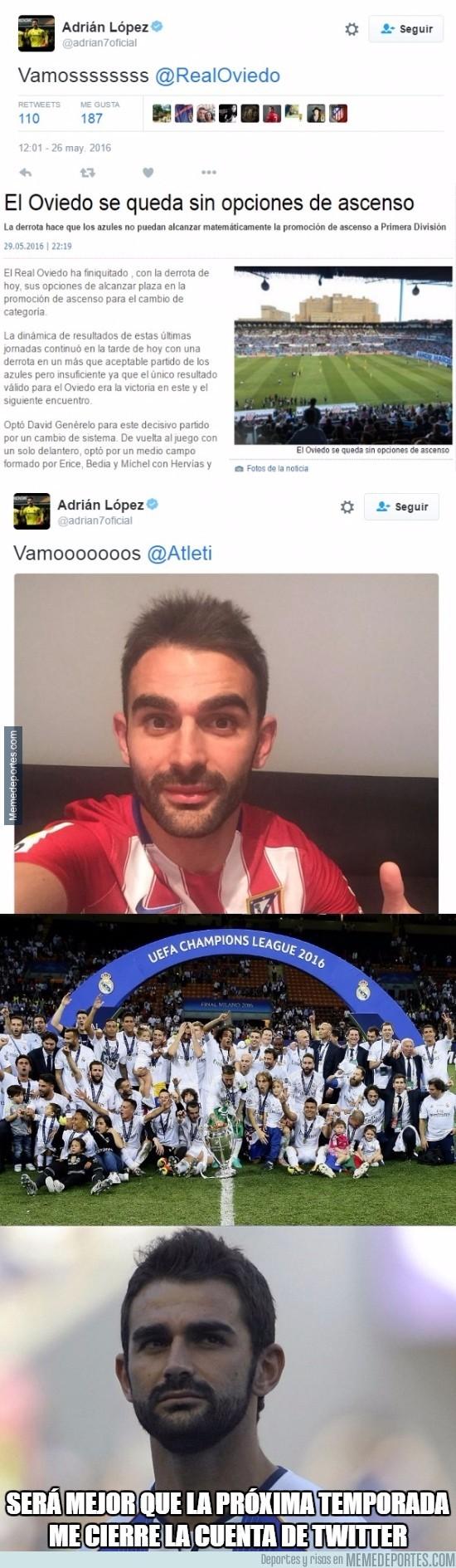 865285 - Adrián López y sus tuits animando antes de los partidos