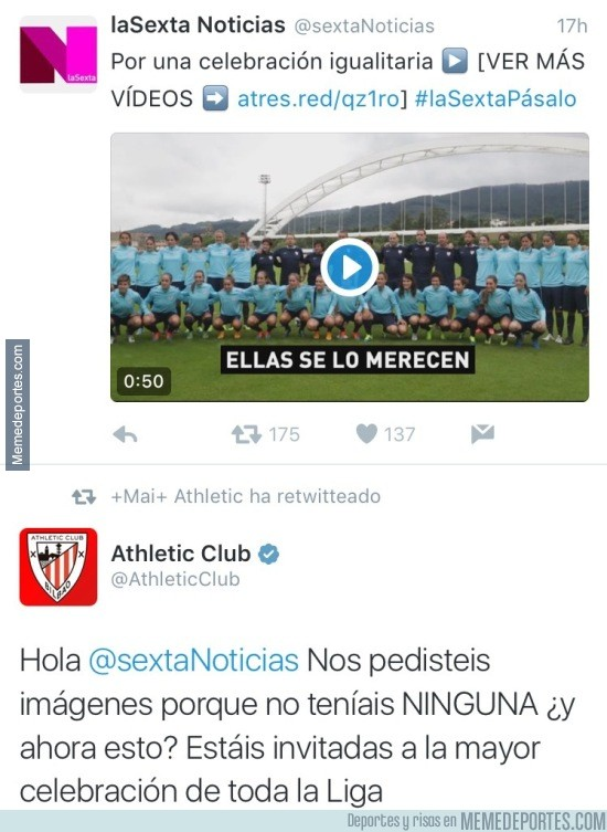868641 - Zasca del Athletic Club a la Sexta Noticias