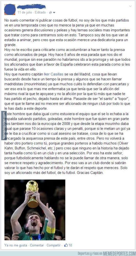 870235 - Mensaje de un aficionado a Iker Casillas cuando se fue del Madrid