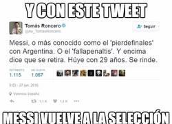 Enlace a Gracias Roncero, has hecho que Messi vuelva