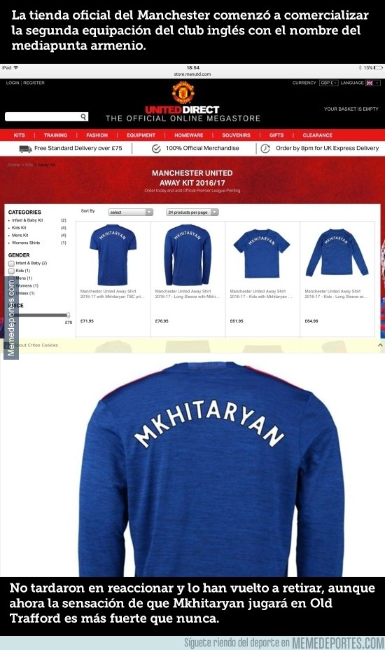 884145 -  La tienda oficial del United la lía y vende camisetas de fichajes aún no confirmados