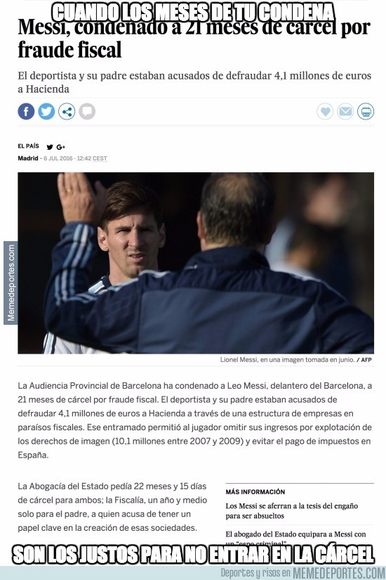 886451 - ÚLTIMA HORA: Messi condenado a 21 meses de cárcel por fraude fiscal