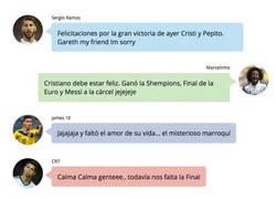 Enlace a La conversación en Whatsapp de los jugadores del Real Madrid tras el Portugal - Gales
