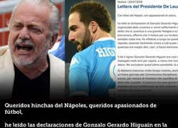 Enlace a El presidente del Nápoles contesta al delantero argentino en una carta abierta a los seguidores