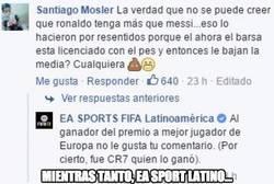 Enlace a EA Sports Latino y su respuesta a este usuario