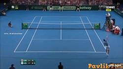Enlace a GIF: Impresionante punto que nos ha dejado Del Potro vs Murray por la Copa Davis