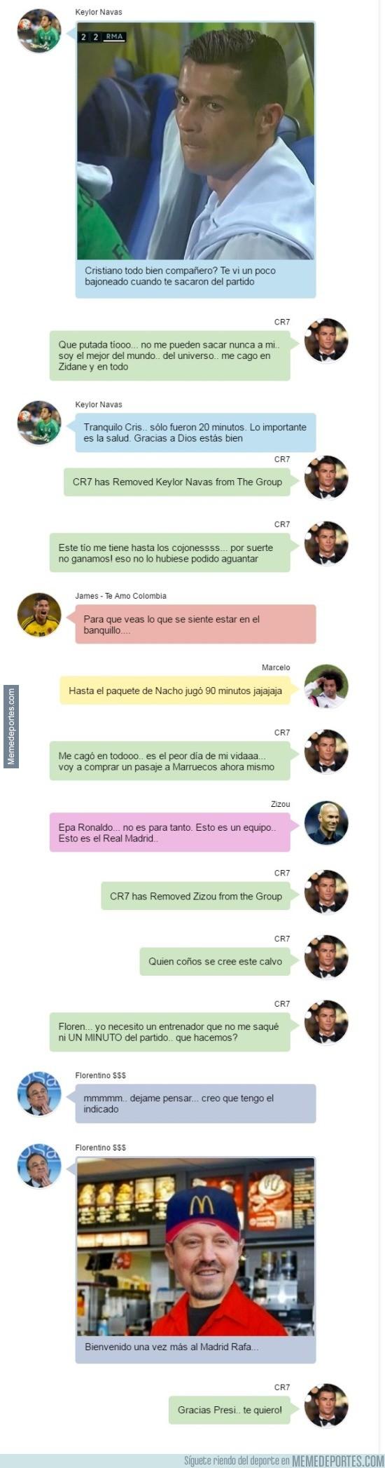 911579 - La conversación de Cristiano Ronaldo en Whatsapp después del partido donde fue sustituido