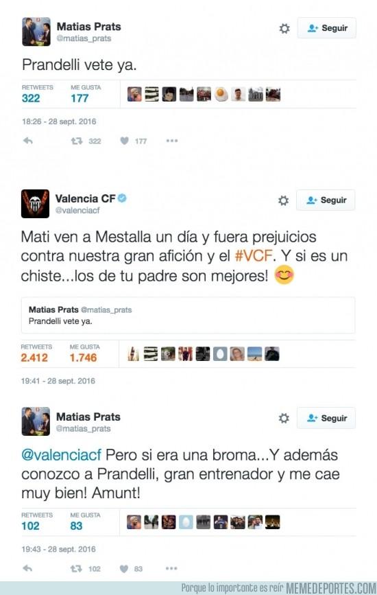 912201 - El ZASCA del Valencia a Matías Prats Jr. tras este tuit