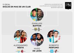 Enlace a XI ideal de jugadores ídolos en más de club