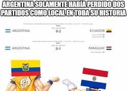 Enlace a Argentina solamente había perdido dos partidos como local en toda su historia