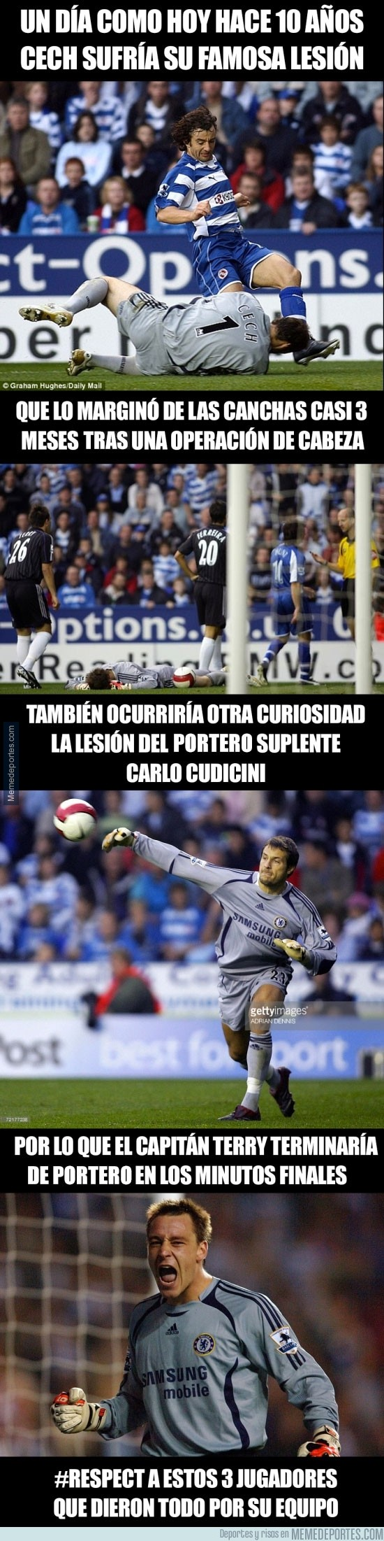 916194 - La historia de la lesión de Cech que lo llevó a llevar siempre casco