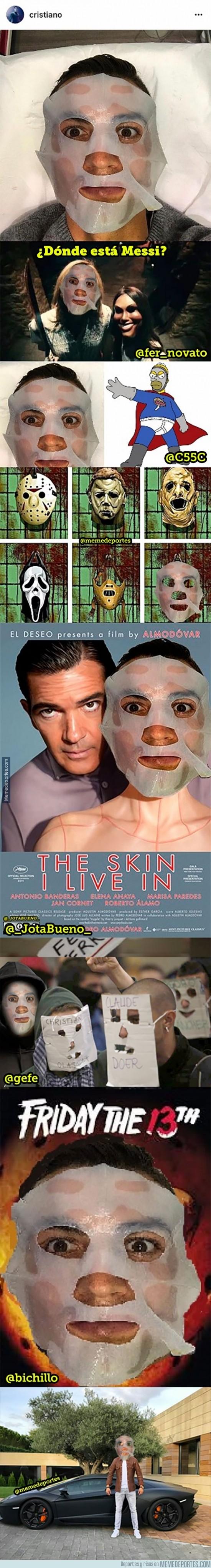 917979 - Cristiano sube una foto con una máscara y se desata una nueva locura para chopearle