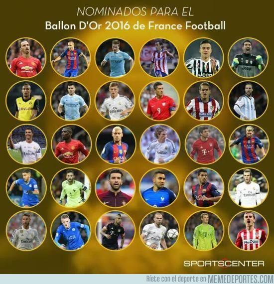 919379 - ¡Lista completa! Los 30 futbolistas nominados al Balón de Oro 2016