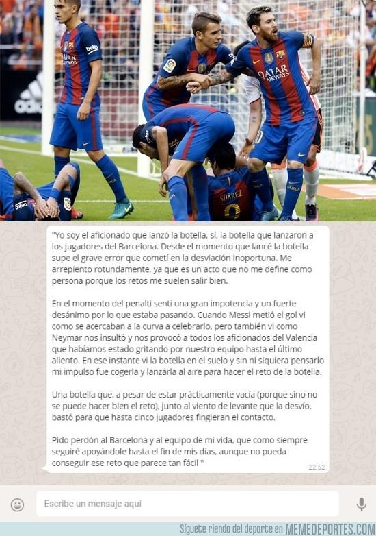 919649 - El mensaje del menor que lanzó la botella a Neymar en Mestalla