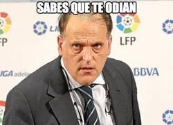 Enlace a Tebas gana en odio a todos en La Liga