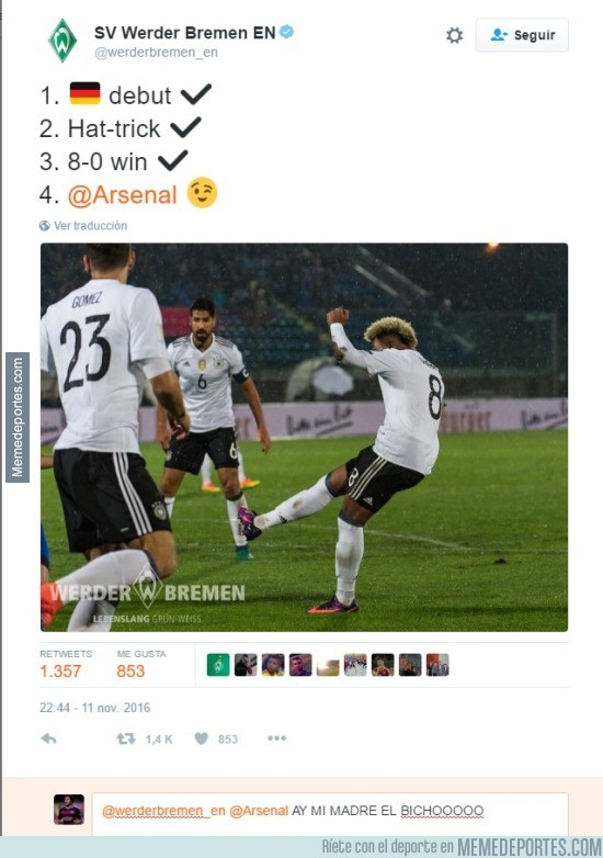 924045 - ¡Vacilada épica del Werder Bremen al Arsenal en Twitter!