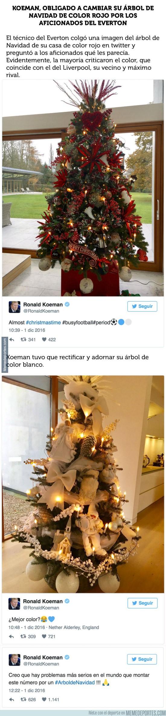 928968 - Los fans del Everton le hacen tirar a la basura a Koeman su árbol de Navidad