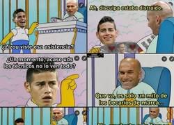 Enlace a La atención de Zidane a James