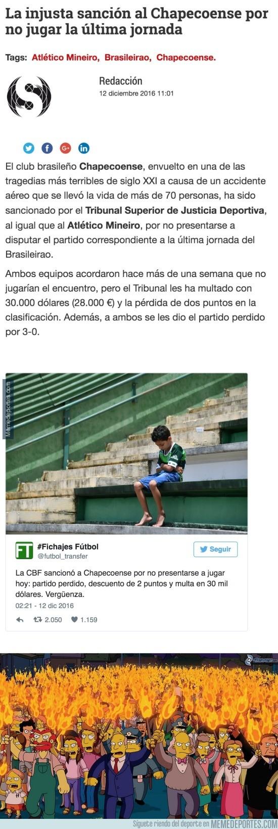 932102 - El Tribunal de Justicia de Brasil multa al Chapecoense