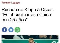 Enlace a Intercambio de palabras entre Klopp y Oscar por irse a China