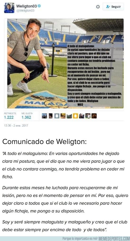 936297 - Weligton emociona al malaguismo con un gesto desconocido en el mundo del fútbol