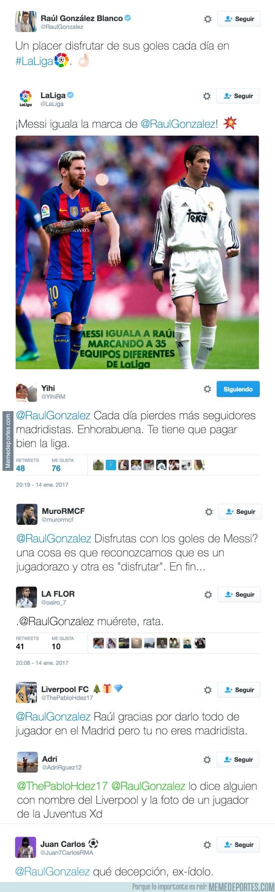 939497 - Madridistas insultando a Raúl tras alabar a Messi en Twitter