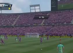 Enlace a Vídeo: La reacción de un jugador de FIFA al marcarle Mathieu un golazo a lo Roberto Carlos