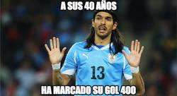 Enlace a A sus 40 años, ha marcado su gol 400