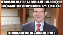 Enlace a El alcalde de Vigo se burla del Madrid por no estar en 3 competiciones y el Celta sí
