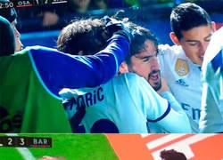 Enlace a Lanzamiento de un objeto al Real Madrid mientras celebraban el gol