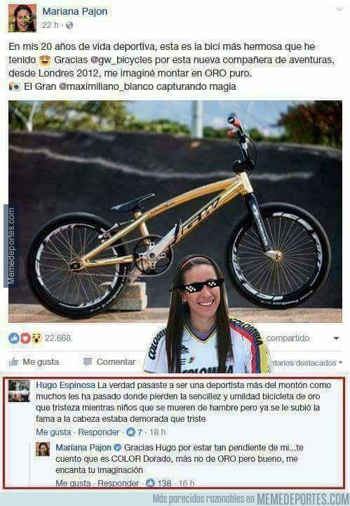 949256 - Genial respuesta de la ciclista Mariana Pajón a un fanático por su bicicleta dorada