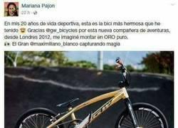 Enlace a Genial respuesta de la ciclista Mariana Pajón a un fanático por su bicicleta dorada