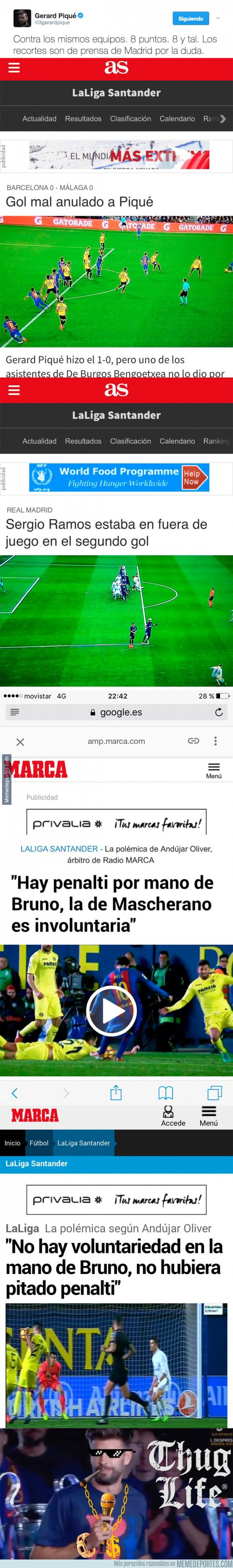 951904 - Piqué la lía en Twitter subiendo la diferencia arbitral entre Barça y Real Madrid según la prensa