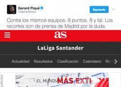 Enlace a Piqué la lía en Twitter subiendo la diferencia arbitral entre Barça y Real Madrid según la prensa