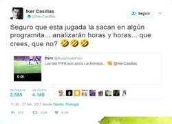 Enlace a Casillas responda un vídeo de un fallo suyo en FIFA y envía un recadito al Chiringuito